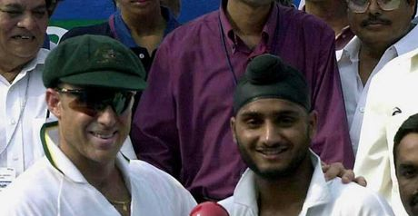 Happier times? Hayden with Harbhajan in 2001