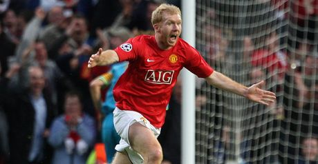 Paul Scholes celebrates scoring the semi-final winner against Barcelona