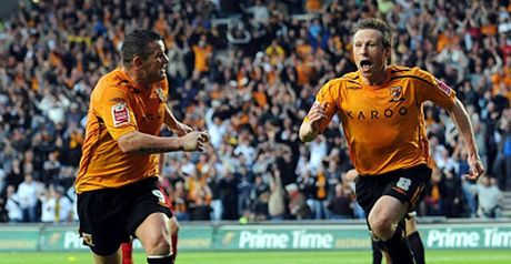 Nick Barmby celebrates his goal against Watford
