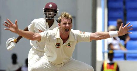 Lee appeals successfully for the wicket of Ramdin
