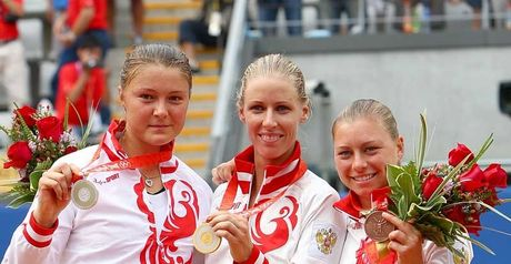 Russian sweep: Safina, Dementieva and bronze medallist Vera Zvonareva