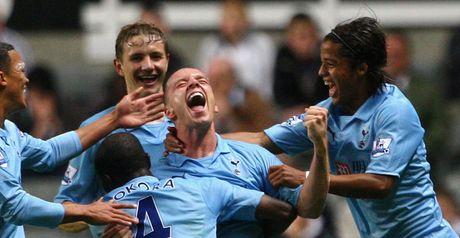 Spurs celebrate O'Hara's goal