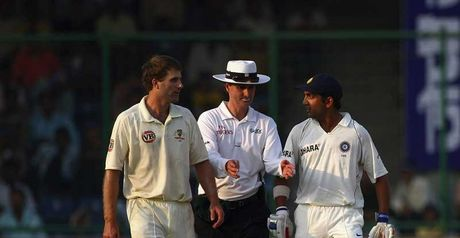 Simon Katich, umpire Billy Bowden and Gautam Gambhir (l-r) discuss events