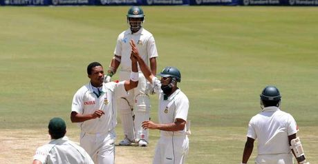 Makhaya Ntini celebrates the wicket of Imrul Kayes on the stroke of lunch