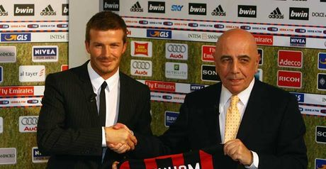 Unveiled: David Beckham is welcomed to Milan by chief operating officer Adriano Galliani