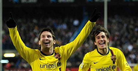 Messi celebrates his treble