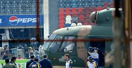 Sri Lankan players are evacuated by helicopter.