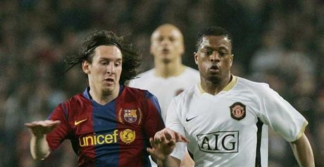Titanic tussle: Messi (left) and Evra