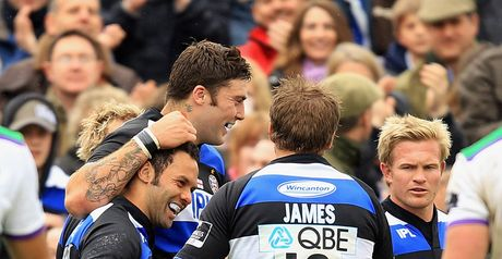 Farewell: Maddock is congratulated after scoring a try in his final appearance at The Rec