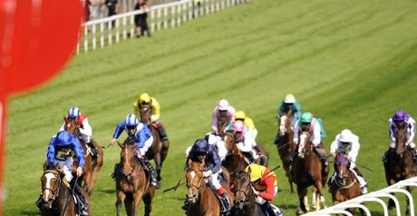 Snow Fairy (yellow cap) swoops under Ryan Moore.