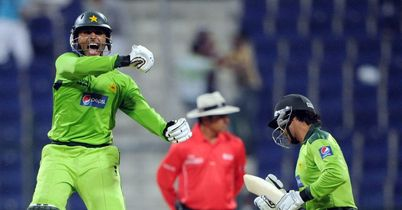 Jumping for joy: Razzaq