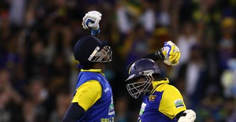 Mission accomplished: Mathews (left) and Murali celebrate