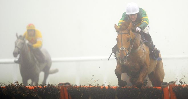 Backspin and Tony McCoy en route to victory at a foggy Newbury on Wednesday