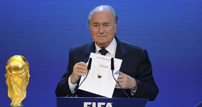 Fifa president Blatter announces back in November that Qatar will host the 2022 World Cup