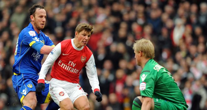 Arshavin is denied by Schmeichel
