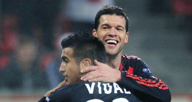 Ballack: His late goal sealed a 2-0 victory against Belgian champions