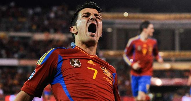 Villa: Bagged a brace as Spain booked their place in Euro 2012 finals