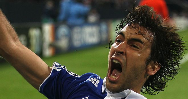 Raul celebrates his goal
