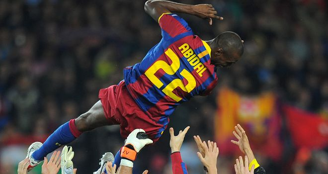 Abidal: At the centre of Barca's celebrations on Tuesday
