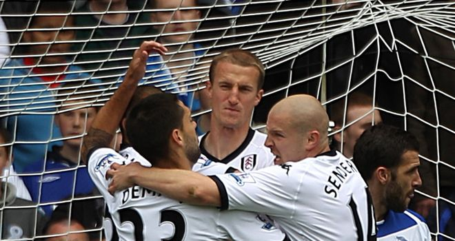 Hangeland is congratulated for the first of two goals.