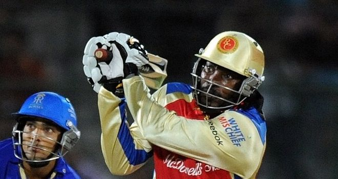 Gayle: Hit four fours and six sixes to lead Bangalore to victory
