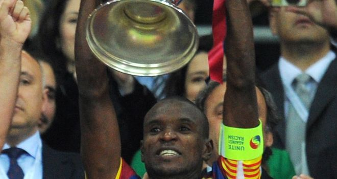 Eric Abidal: Barcelona defender during happier times with the club