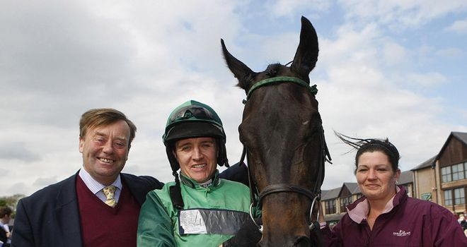 Triumphant trio - Nicky Henderson and Barry Geraghty with Grandouet.