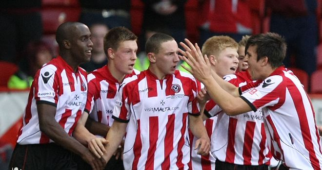 Sheffield United celebrate their equalising goal