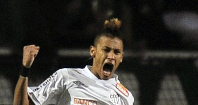 Neymar: Santos star celebrates goal in final of Copa Libertadores