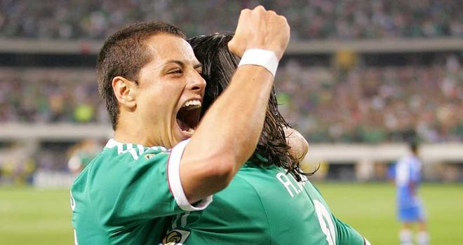 Javier Hernandez: On target for Mexico in their victory over Serbia