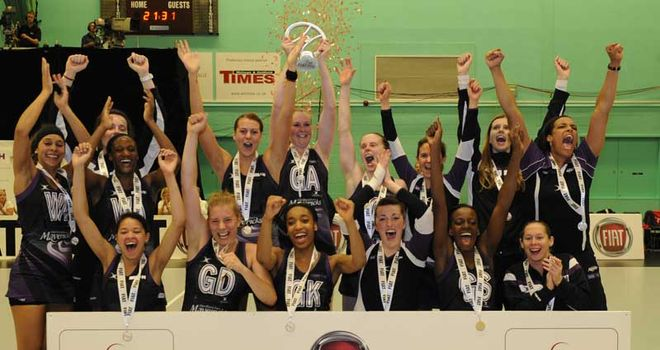 Mavericks celebrate their grand final triumph over Surrey Storm