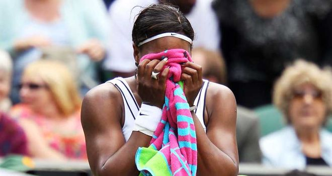 Serena Williams : Broke down after her first-round win