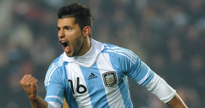 Aguero: Argentina forward celebrates after levelling against Boliva