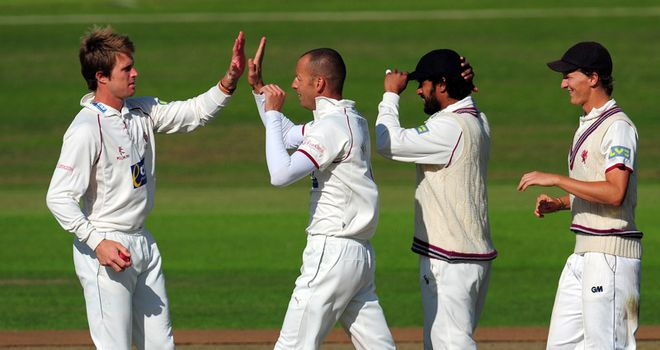 Charl Willoughby took five wickets to leave India in big trouble at Taunton