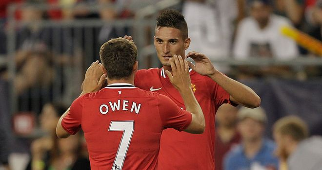 Macheda celebrates with Owen after scoring his opener