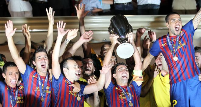 Barcelona celebrate at the end of another productive evening