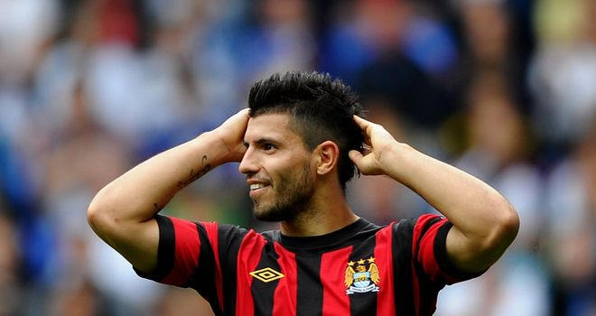 Aguero: The Argentine was furious with Joe Hart after a long goal-kick