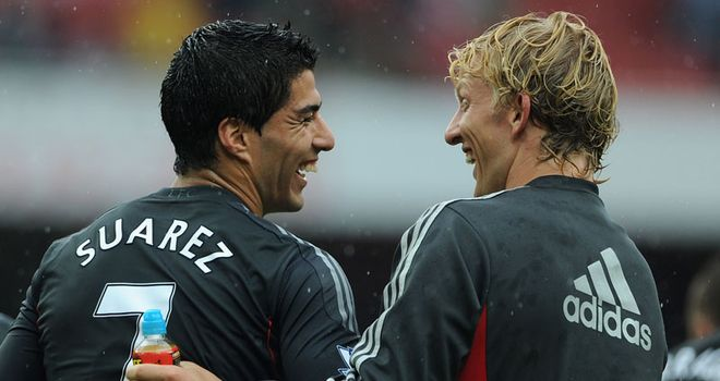 Suarez: Congratulated by his team-mate Kuyt after their win against Arsenal