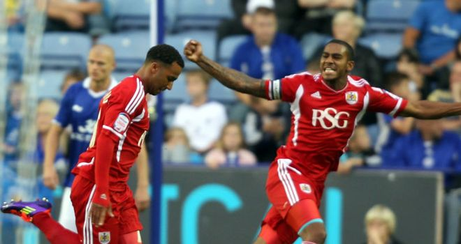 Maynard: A familiar sight as the striker celebrates more goals for Bristol City