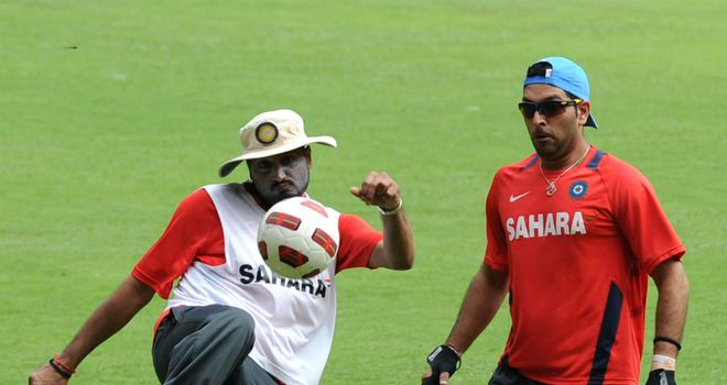 Ruled out: Harbhajan (left) and Yuvraj