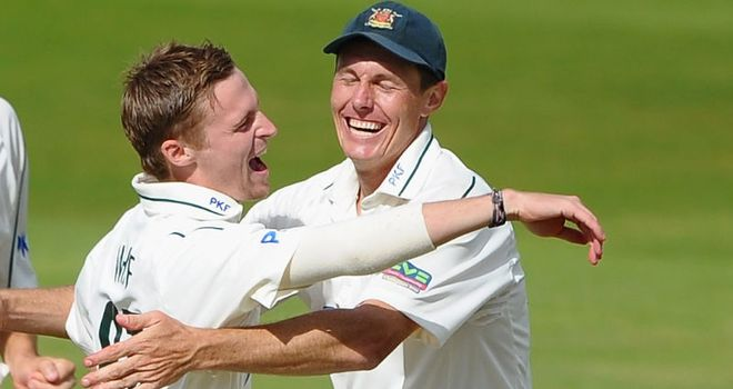 White: celebrating one of his four second-innings wickets