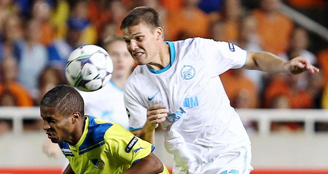 Apoel: Marcinho fights for the ball with Zenit's Igor Denisov