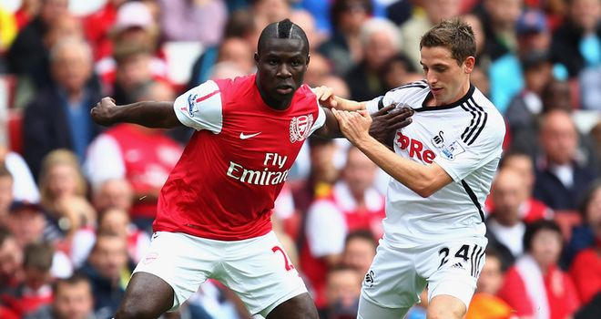 Allen: Battling against Emmanuel Frimpong on his Premier League debut