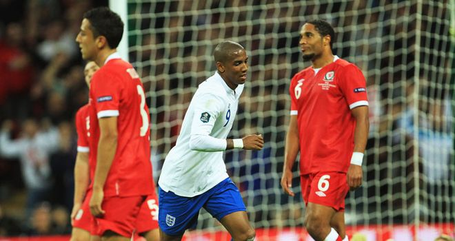 Young: His striker proved to be enough to see England to all three points