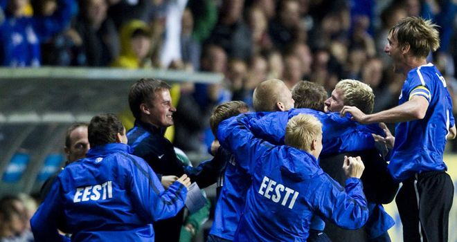 Goal joy: Estonia celebrate as they boost their qualification hopes in Tallinn