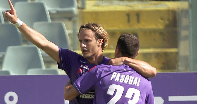 Gilardino: Celebrating a goal for Fiorentina where he has a great scoring record