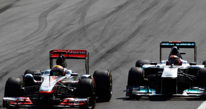 Fierce battle: Hamilton and Schumacher