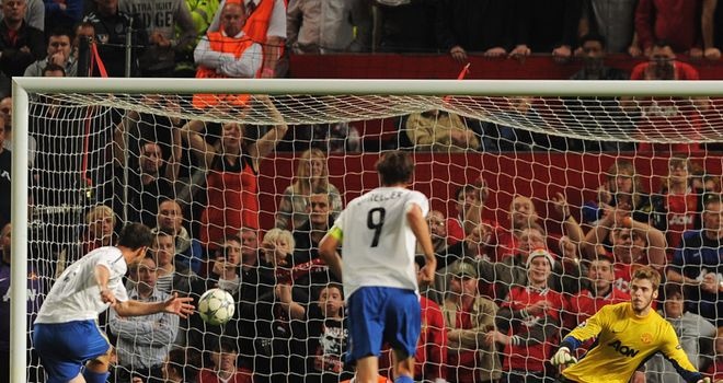 Alexander Frei nets a penalty at Old Trafford. His battle with Nemanja Vidic will be key again