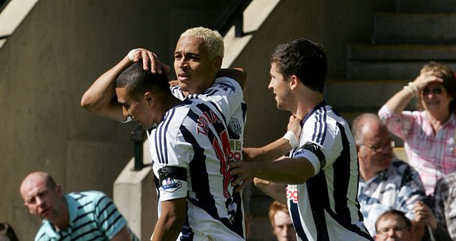 Odemwingie: Celebrating his goal against Norwich to give West Brom their first win of the season