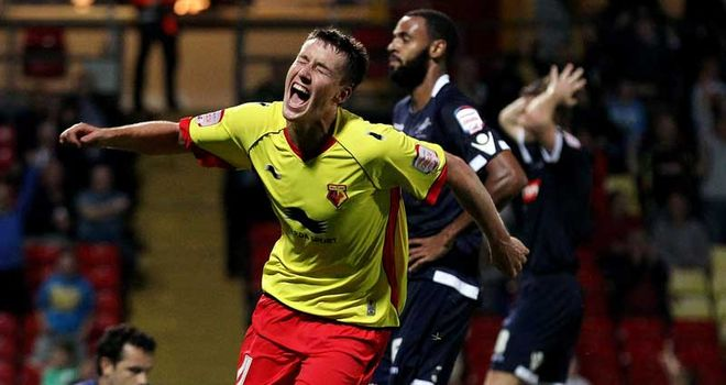 Forsyth: Celebrates his late winner for Watford